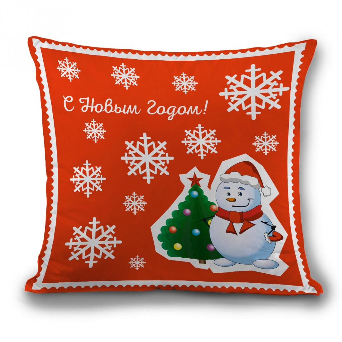 Подушка новогодняя Снеговик