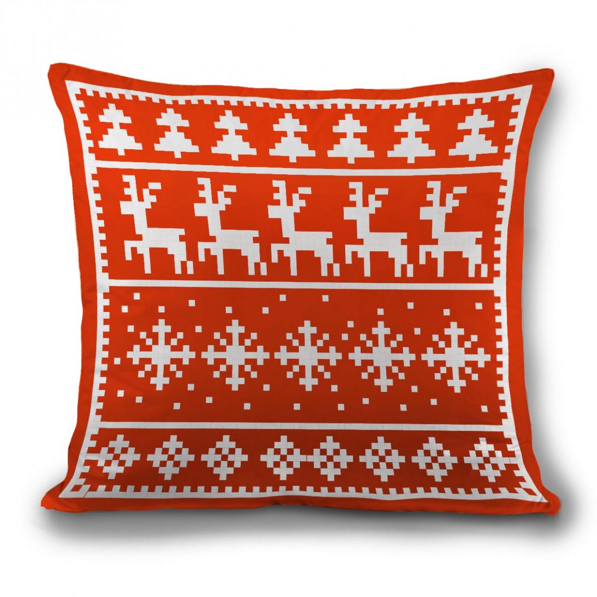 Подушка новогодняя с оленями